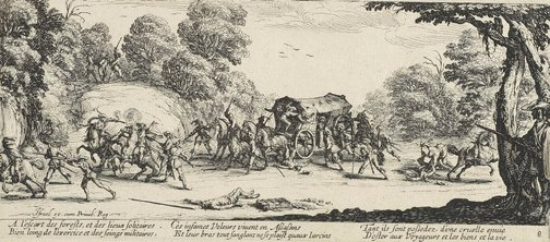 An image of Attack on a coach by Jacques Callot