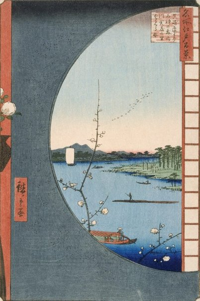 An image of Sekiya, inlet and Suijin Woods viewed from Masaki neighbourhood by Andô/Utagawa HIROSHIGE