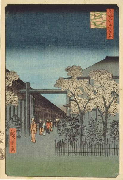 An image of Dawn in the licensed quarters by Hiroshige Andô/Utagawa