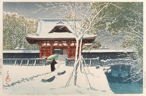 An image of Snow in Shiba Park, Tokyo by KAWASE Hasui