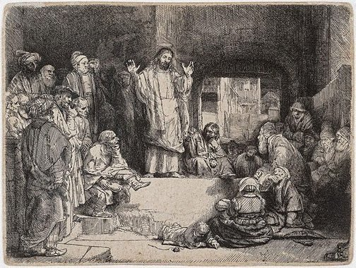 An image of Christ preaching by Rembrandt Harmensz. van Rijn