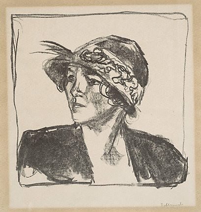 An image of Portrait bust of a young woman by Edvard Munch