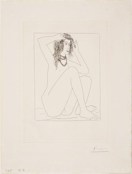 An image of Seated nude crowning herself with flowers by Pablo Picasso
