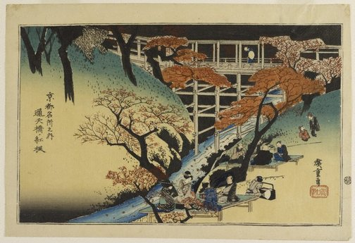 An image of Maples at Tsûten Bridge by Andô/Utagawa HIROSHIGE