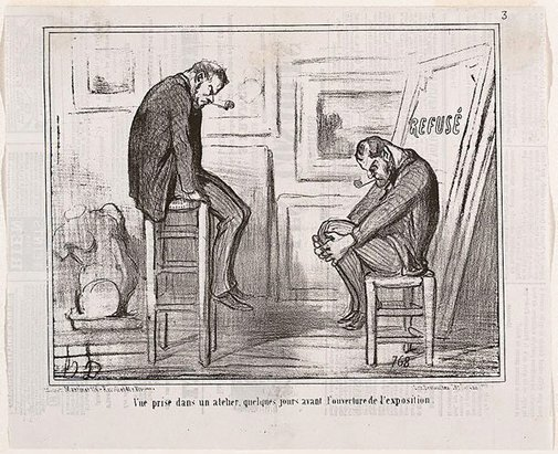 An image of Scene in a studio, a few days before the opening of an exhibition by Honoré Daumier