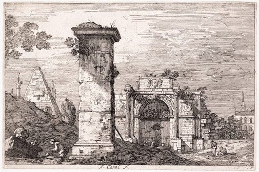An image of Landscape with ruined monuments by Canaletto