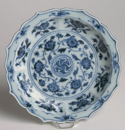 An image of Dish with eight foliate lobes by Jingdezhen ware