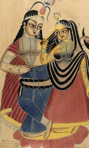 An image of Balaram and Rohini by Kalighat school
