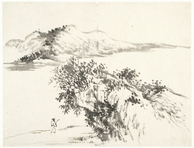 An image of (Landscape with figure carrying staff and passing below an overhanging rock)