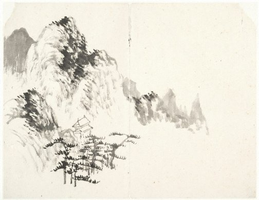An image of (Mountain landscape with a stone pagoda) by Cheng Sui