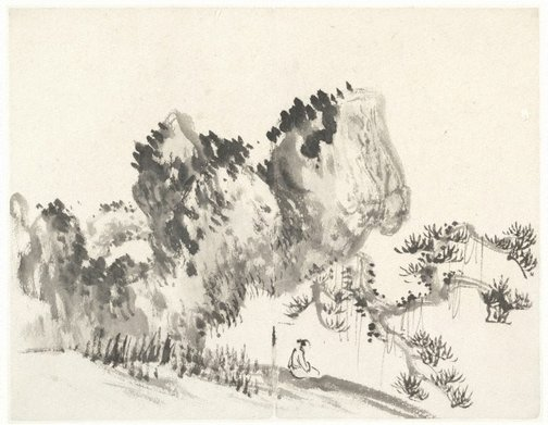 An image of Figure seated beneath a rock and an overhanging pine tree by Cheng Sui