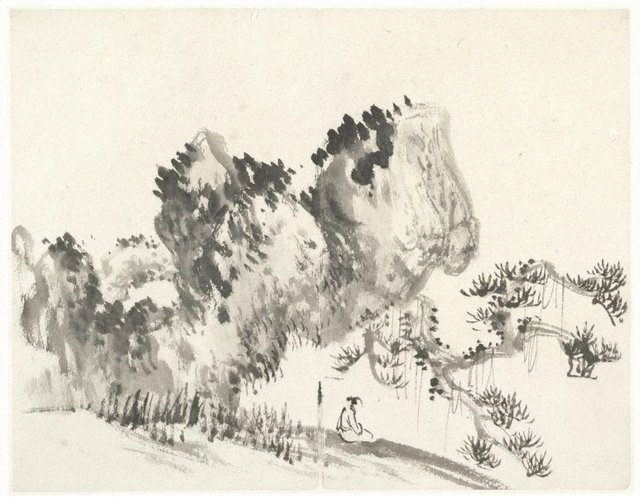 An image of Figure seated beneath a rock and an overhanging pine tree