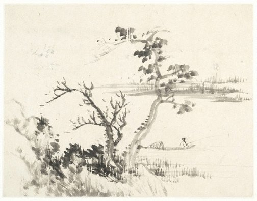 An image of (Lakeside with a fisherman in a boat, facing right) by CHENG Sui