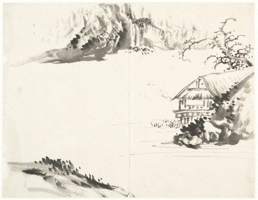 An image of (Landscape with thatched house at right) by Cheng Sui