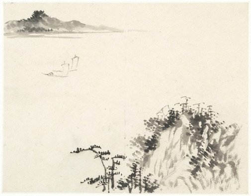 An image of (A lake with two sailboats, seen from a mountain) by CHENG Sui