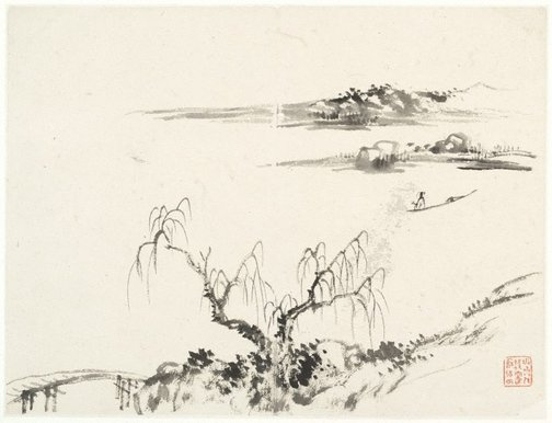 An image of (Landscape with bridge at left, boatman at right) by Cheng Sui