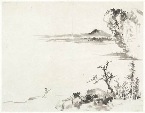 An image of (Landscape with foreground figure carrying a staff) by CHENG Sui