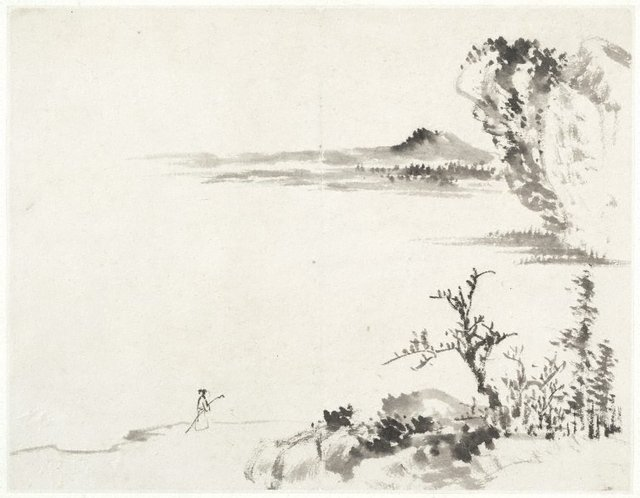An image of (Landscape with foreground figure carrying a staff)
