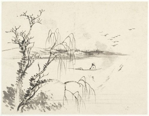 An image of (Lake scene with a seated boatman by a willow) by Cheng Sui