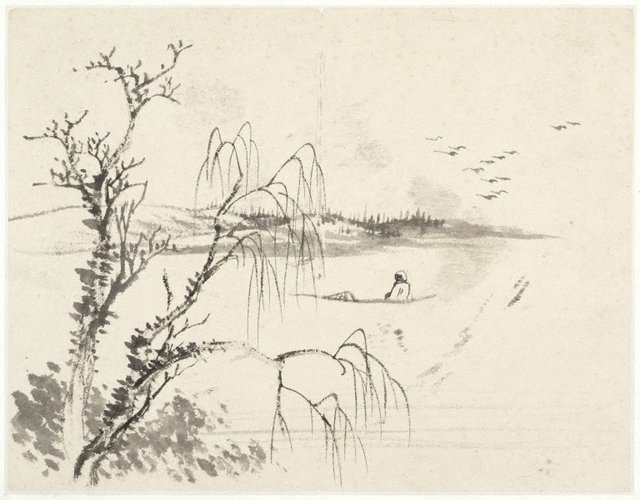 An image of (Lake scene with a seated boatman by a willow)