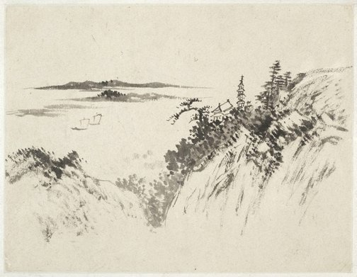 An image of (Landscape with pagoda above a lake with two sailboats) by Cheng Sui
