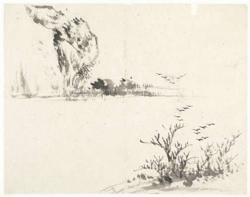 An image of (Landscape with birds rising from a foreground tree) by CHENG Sui