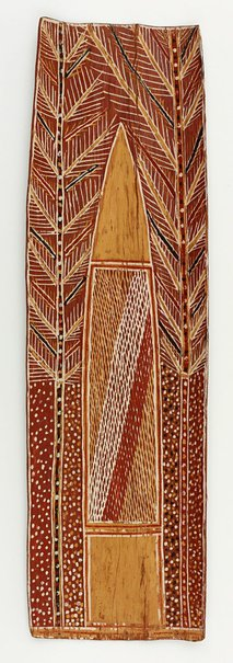 An image of Bark painting (Rain in trees) by Samuel Lipundja