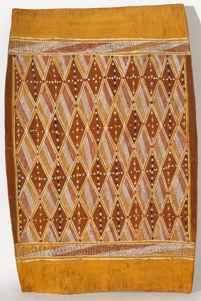 An image of Bark painting (Diamond pattern) by Samuel Lipundja