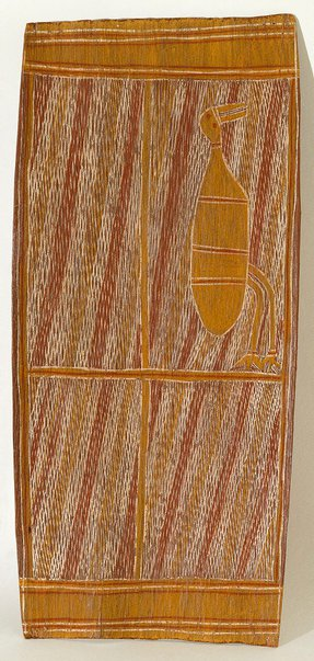 An image of Bark painting (Waterfowl feeding in the river reeds) by Bob Bilinyara