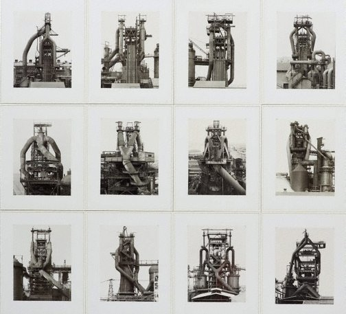 An image of Blast furnaces, Germany, France, Luxembourg, United States by Bernd Becher, Hilla Becher