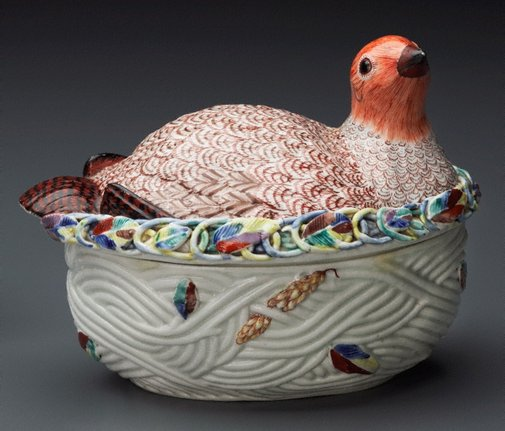 An image of Tureen and cover in the form of a partridge by Worcester