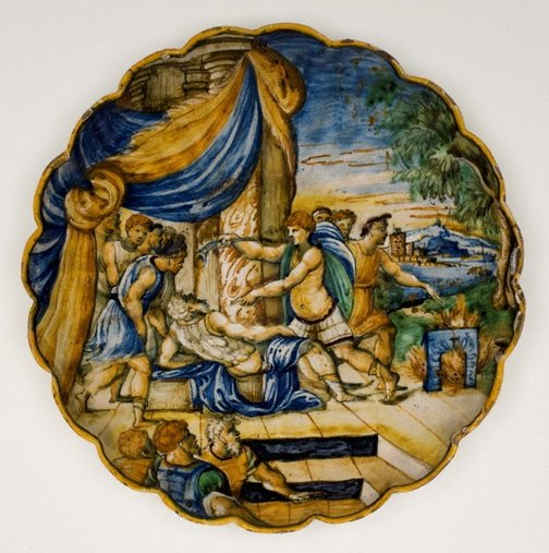 An image of Fluted dish: The death of Crassus by Unknown