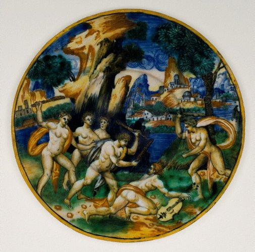 An image of Plate: Orpheus clubbed to death by the frenzied Maenads of Ciconia by Unknown