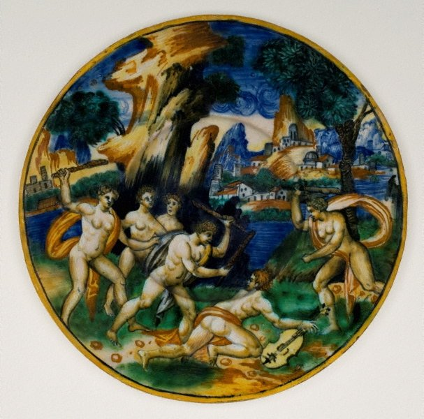 An image of Plate: Orpheus clubbed to death by the frenzied Maenads of Ciconia