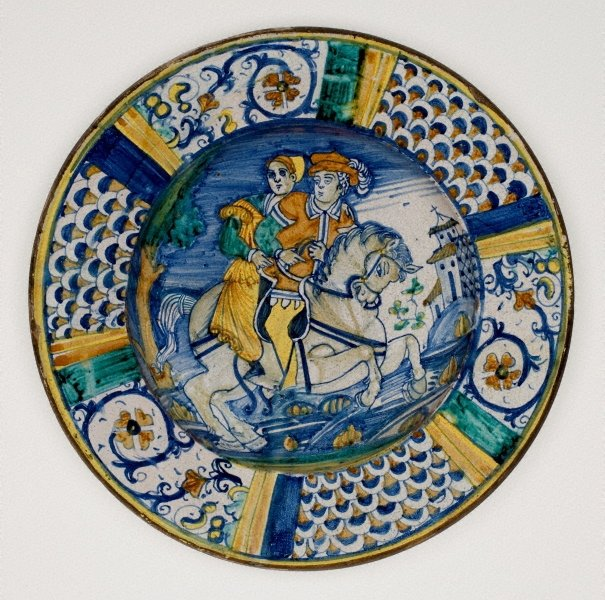 An image of Large plate: Figures on horseback