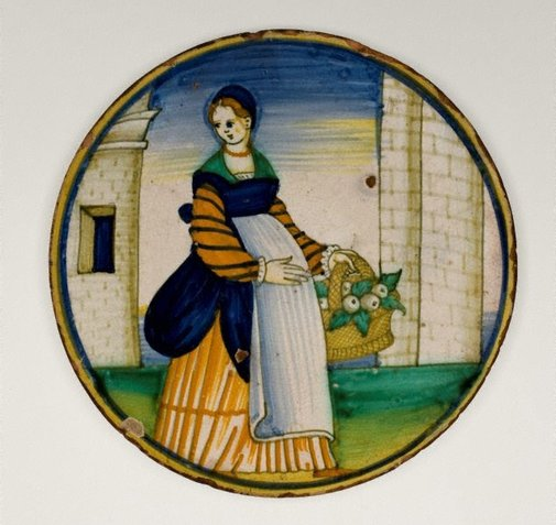 An image of Plate: Woman with a basket of fruit by Unknown