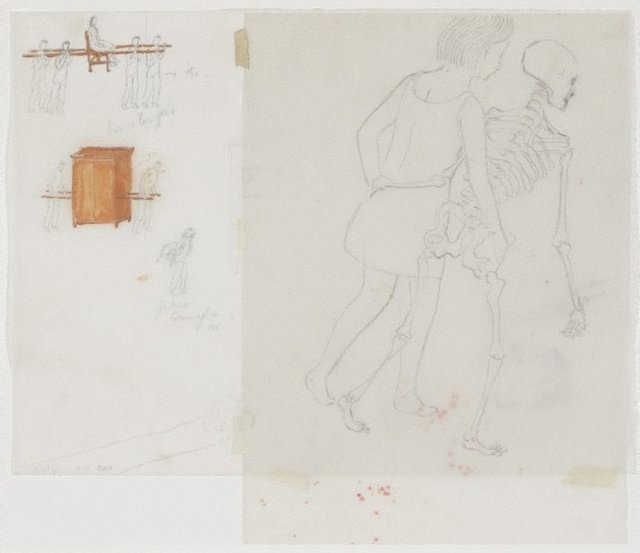 An image of Untitled (study for The modern procession, and Girl with skeleton)