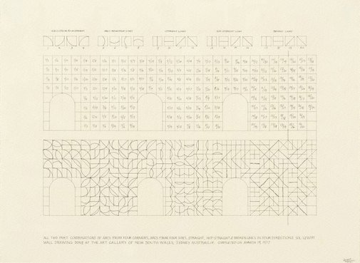 An image of All two part combinations of arcs from four corners, arcs from four sides, straight, not-straight and broken lines in four directions by Sol LeWitt