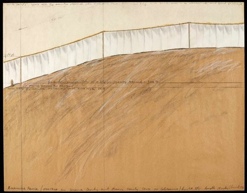 An image of Running Fence, Project for Sonoma and Marin Counties, State of California by Christo