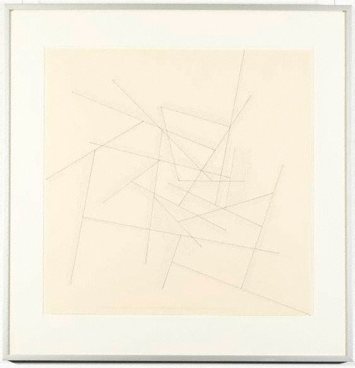 An image of The location of twenty-one lines with lines from midpoints mostly by Sol LeWitt