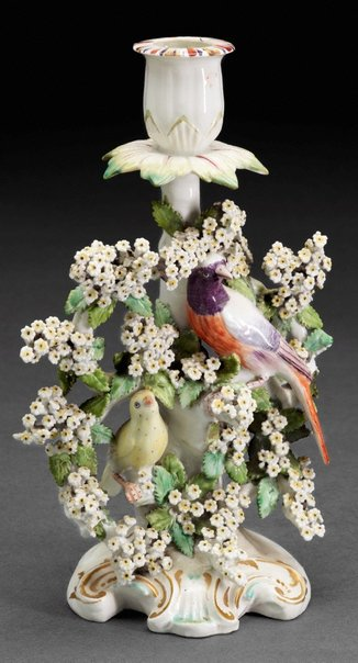 An image of Birds in branches' candlestick [one of a pair] by Derby