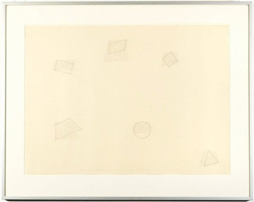 An image of The location of six geometric figures by Sol LeWitt