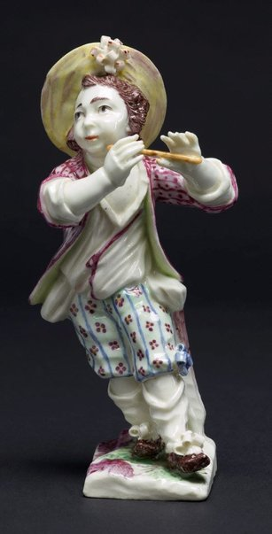 An image of Boy playing the pipe by Mennecy-Villeroy porcelain