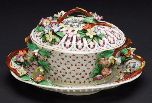 An image of Cream basin, cover and stand [one of a pair] by Worcester