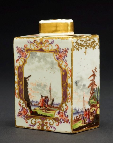 An image of Tea canister and cover by Meissen