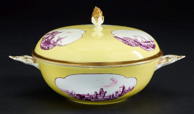 An image of Two handled soup bowl and cover