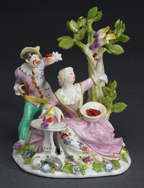 An image of Harlequin and a lady with parrots, model by Meissen