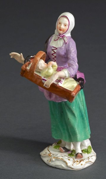 An image of Savoyard woman with cradle, model by Meissen
