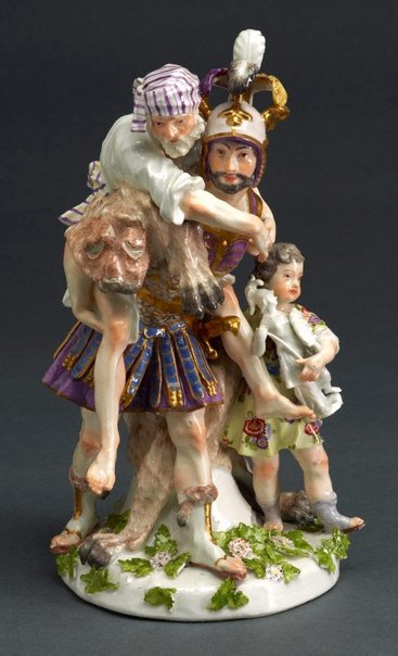 An image of Aeneas rescuing Anchises and Ascanius, model by Meissen