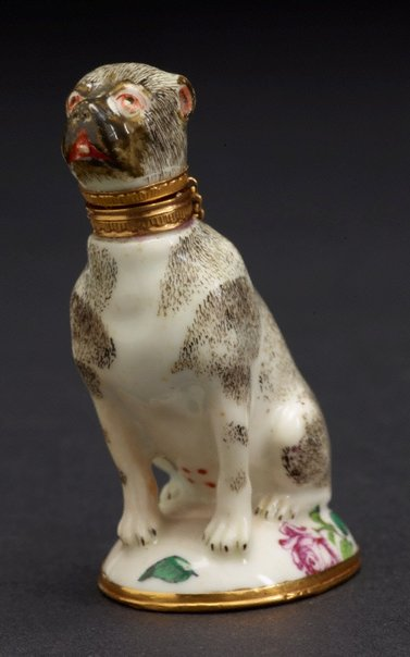 An image of Scent bottle in the form of a pug by Chelsea